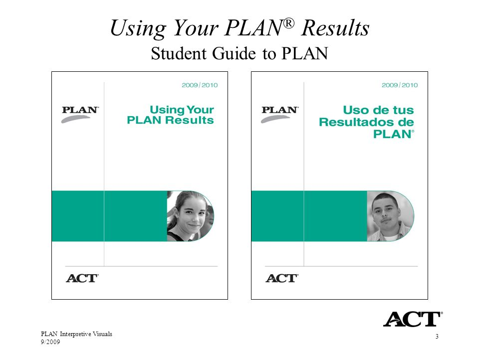 PLAN Interpretive Visuals 9/2009 3 Using Your PLAN ® Results Student Guide to PLAN
