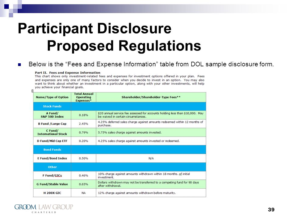 39 Participant Disclosure Proposed Regulations Below is the Fees and Expense Information table from DOL sample disclosure form.