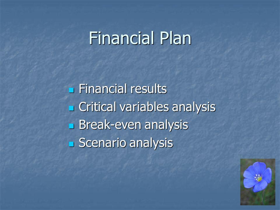 Financial Plan Financial results Financial results Critical variables analysis Critical variables analysis Break-even analysis Break-even analysis Scenario analysis Scenario analysis