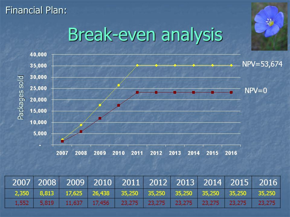 Break-even analysis Financial Plan: Packages sold 2007200820092010201120122013201420152016 2,350 8,813 17,625 26,438 35,250 1,552 5,819 11,637 17,456 23,275 NPV=0 NPV=53,674