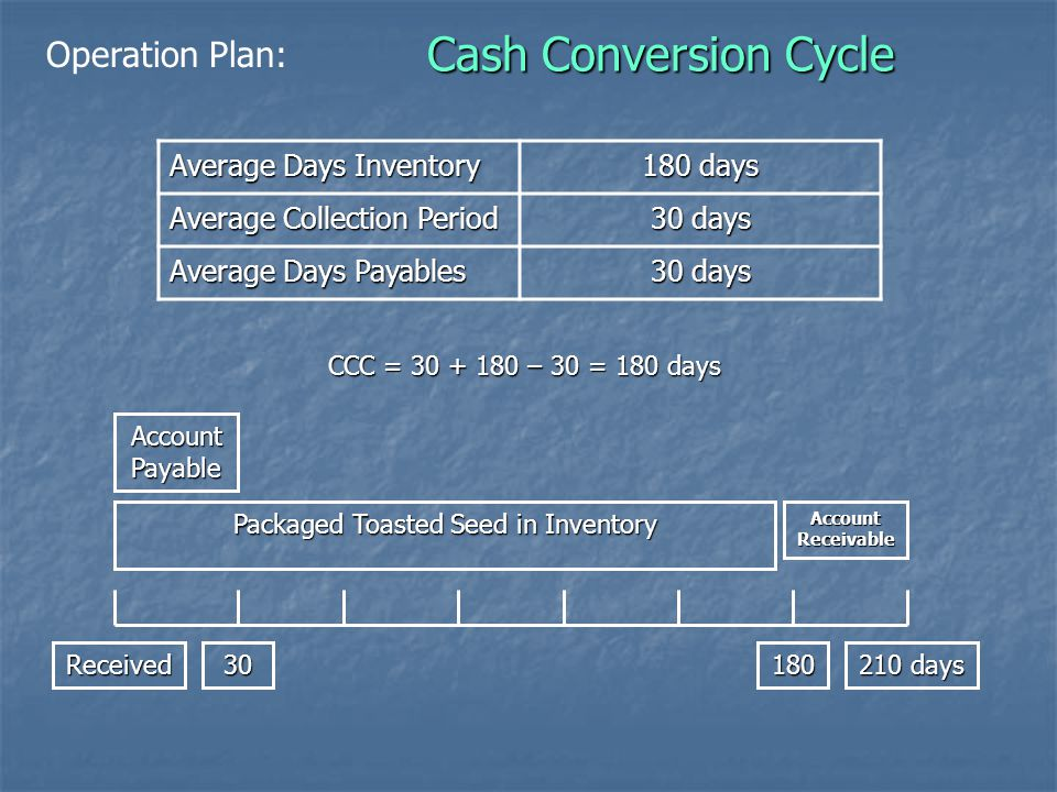 Cash Conversion Cycle Average Days Inventory 180 days Average Collection Period 30 days Average Days Payables 30 days CCC = 30 + 180 – 30 = 180 days Received30180 210 days Account Receivable Account Payable Packaged Toasted Seed in Inventory Operation Plan: