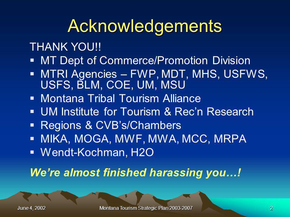 June 4, 2002Montana Tourism Strategic Plan 2003-200713 Natural/Historic/Cultural Assets