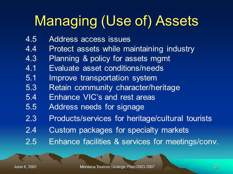 June 4, 2002Montana Tourism Strategic Plan 2003-200727 Managing (Use of) Assets 4.5Address access issues 4.4Protect assets while maintaining industry