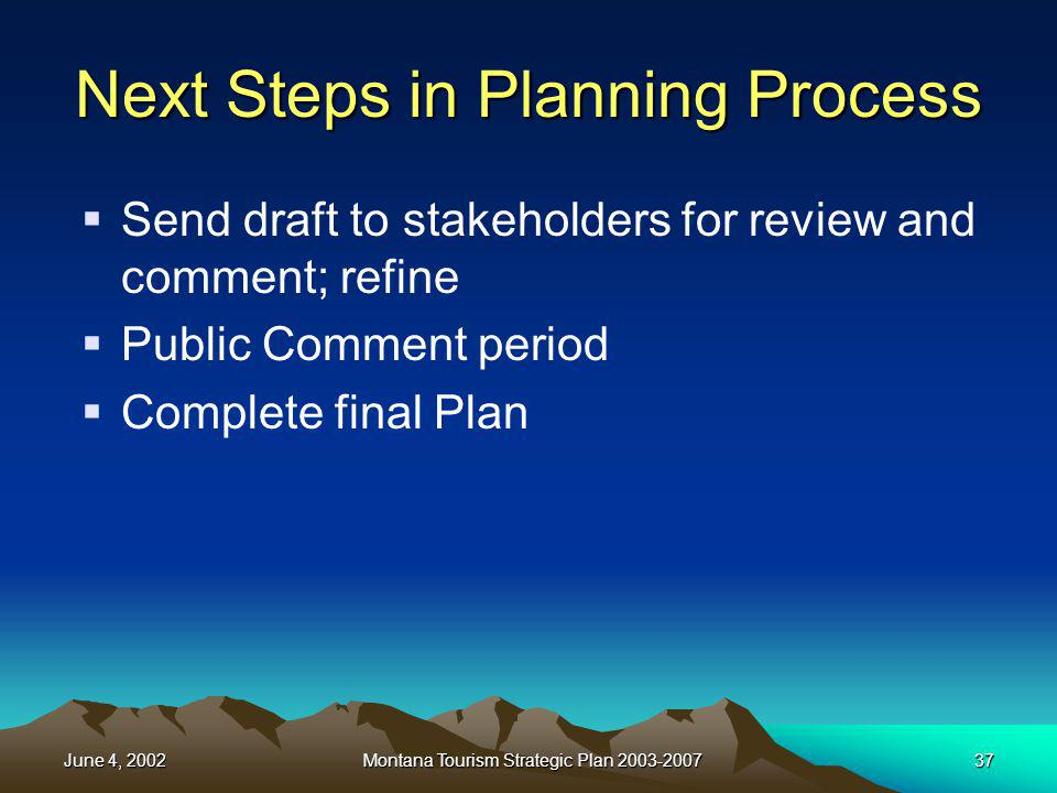 June 4, 2002Montana Tourism Strategic Plan 2003-200737 Next Steps in Planning Process Send draft to stakeholders for review and comment; refine Public