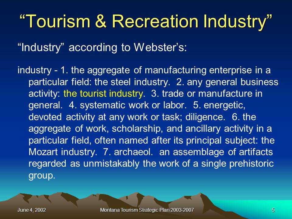 June 4, 2002Montana Tourism Strategic Plan 2003-200716 What is a Tourist.