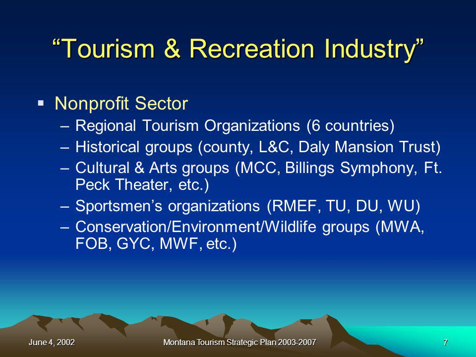 June 4, 2002Montana Tourism Strategic Plan 2003-20077 Tourism & Recreation Industry Nonprofit Sector –Regional Tourism Organizations (6 countries) –Hi