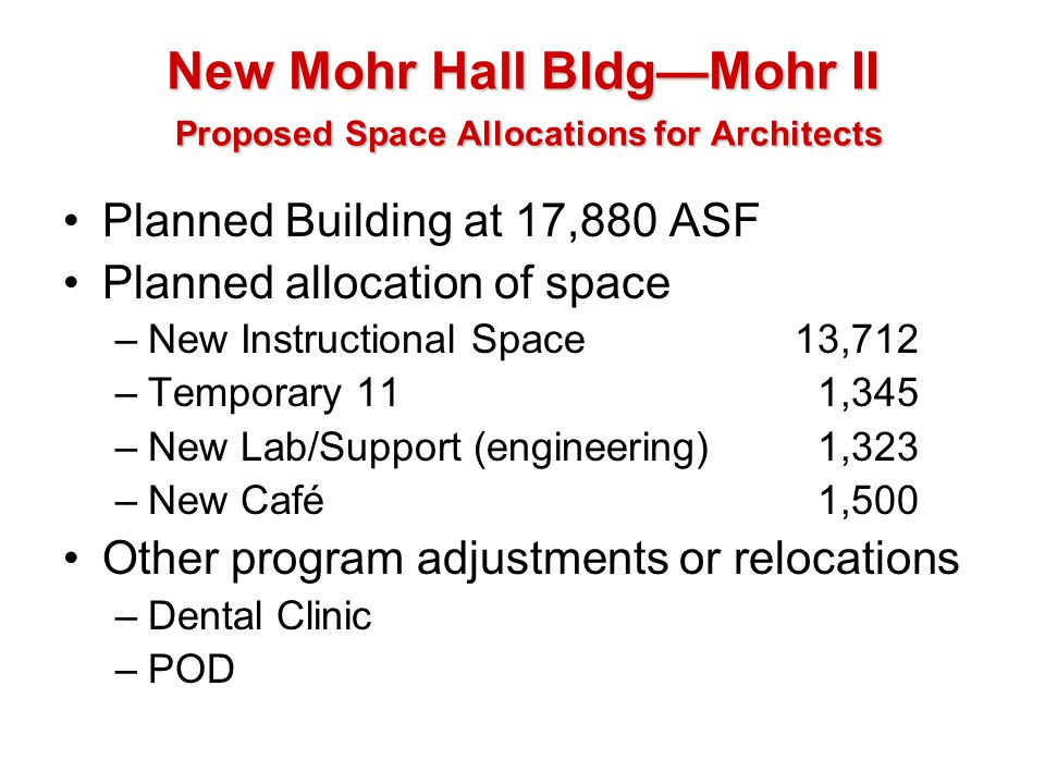 New Mohr Hall BldgMohr II Proposed Space Allocations for Architects Planned Building at 17,880 ASF Planned allocation of space –New Instructional Spac