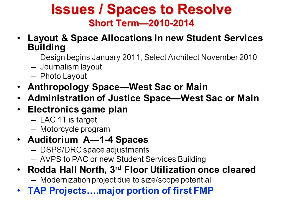 Issues / Spaces to Resolve Short Term2010-2014 Layout & Space Allocations in new Student Services Building –Design begins January 2011; Select Archite