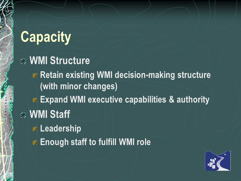 Capacity WMI Structure Retain existing WMI decision-making structure (with minor changes) Expand WMI executive capabilities & authority WMI Staff Leadership Enough staff to fulfill WMI role