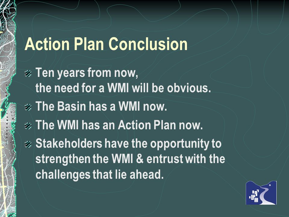 Action Plan Conclusion Ten years from now, the need for a WMI will be obvious.