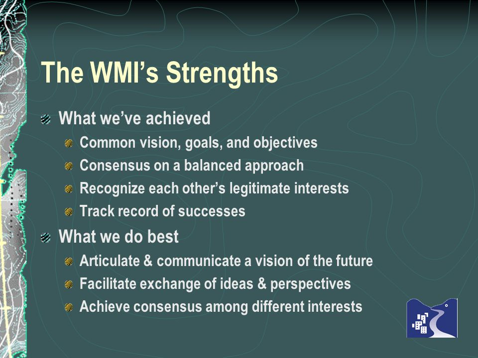 The WMIs Strengths What weve achieved Common vision, goals, and objectives Consensus on a balanced approach Recognize each others legitimate interests Track record of successes What we do best Articulate & communicate a vision of the future Facilitate exchange of ideas & perspectives Achieve consensus among different interests