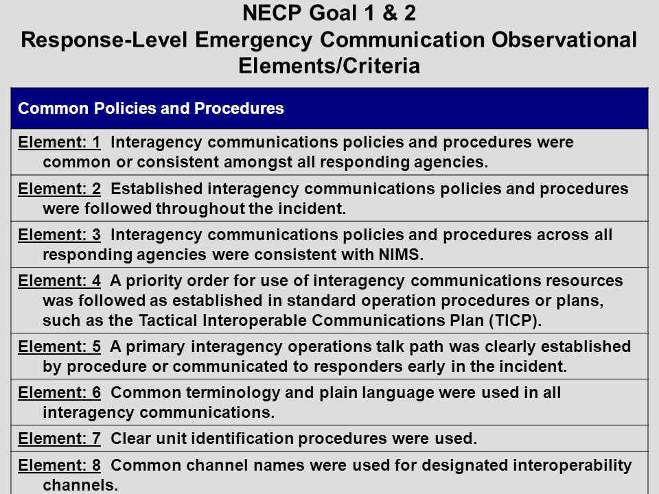 NECP Goal 1 & 2 Response-Level Emergency Communication Observational Elements/Criteria Common Policies and Procedures Element: 1 Interagency communica
