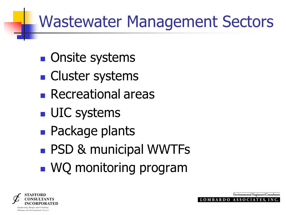 Wastewater Management Sectors Onsite systems Cluster systems Recreational areas UIC systems Package plants PSD & municipal WWTFs WQ monitoring program