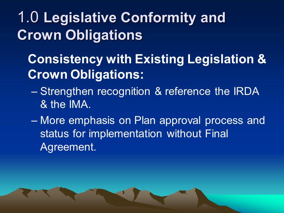 1.0 Legislative Conformity and Crown Obligations……….