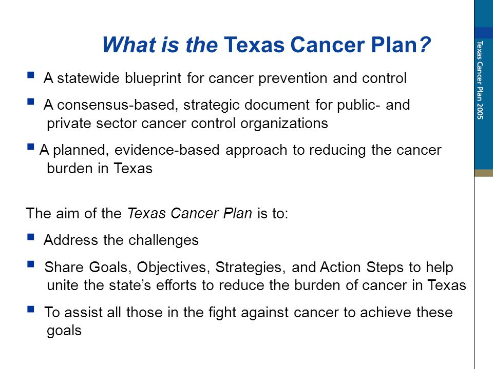 What is the Texas Cancer Plan.