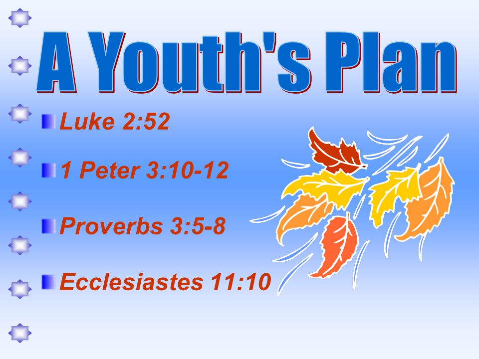 Luke 2:52 1 Peter 3:10-12 Proverbs 3:5-8 Ecclesiastes 11:10