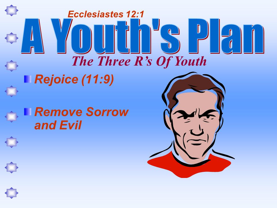 Rejoice (11:9) Remove Sorrow and Evil Ecclesiastes 12:1 The Three Rs Of Youth