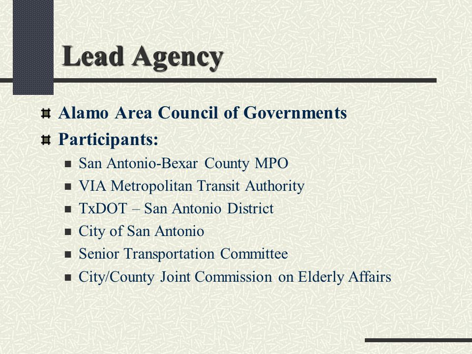 Additional Stakeholders Participants Continued Medicaid Alamo WorkSource Department of Aging & Disability Services Identified for Future Participation Regional Public Transportation Providers Amtrak, Cab Companies, Greyhound, School Districts, etc.
