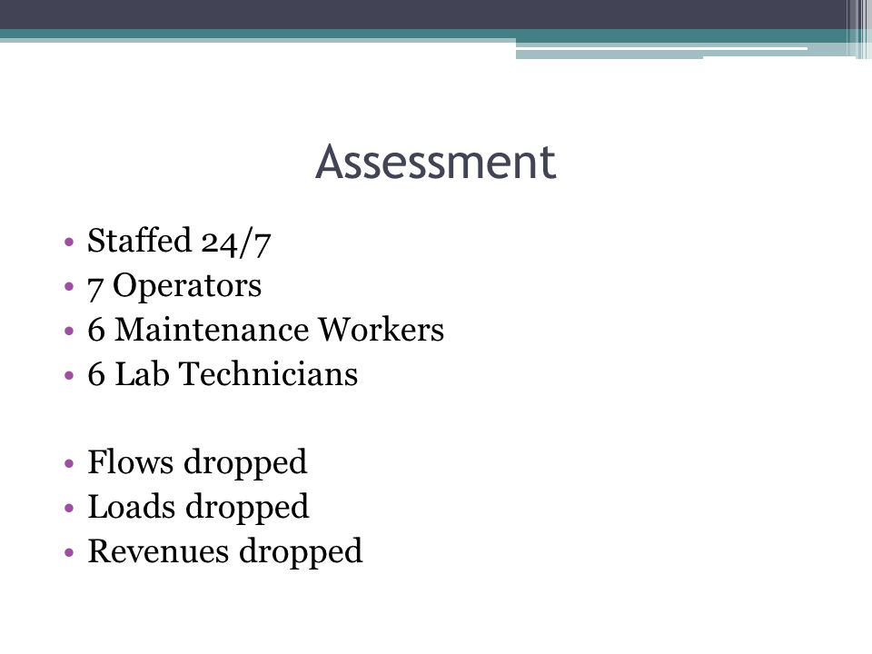 Assessment Staffed 24/7 7 Operators 6 Maintenance Workers 6 Lab Technicians Flows dropped Loads dropped Revenues dropped
