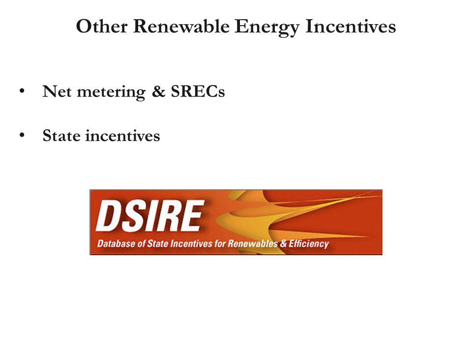 Net metering & SRECs State incentives Other Renewable Energy Incentives