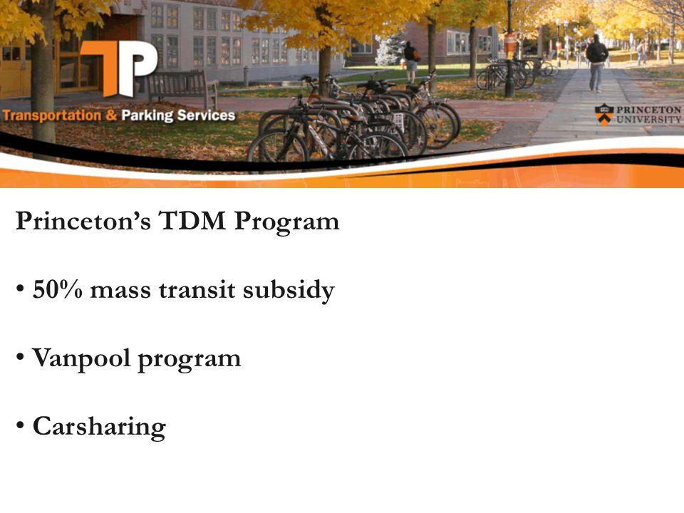 Princetons TDM Program 50% mass transit subsidy Vanpool program Carsharing