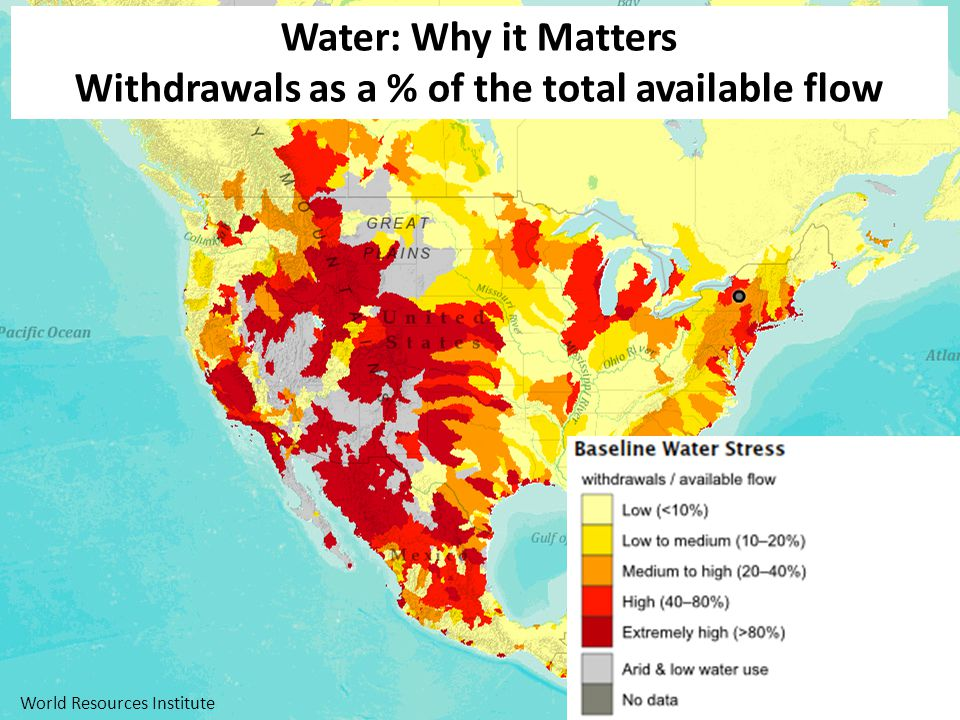 Water: Why it Matters Withdrawals as a % of the total available flow World Resources Institute