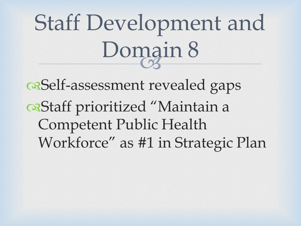 Self-assessment revealed gaps Staff prioritized Maintain a Competent Public Health Workforce as #1 in Strategic Plan Staff Development and Domain 8