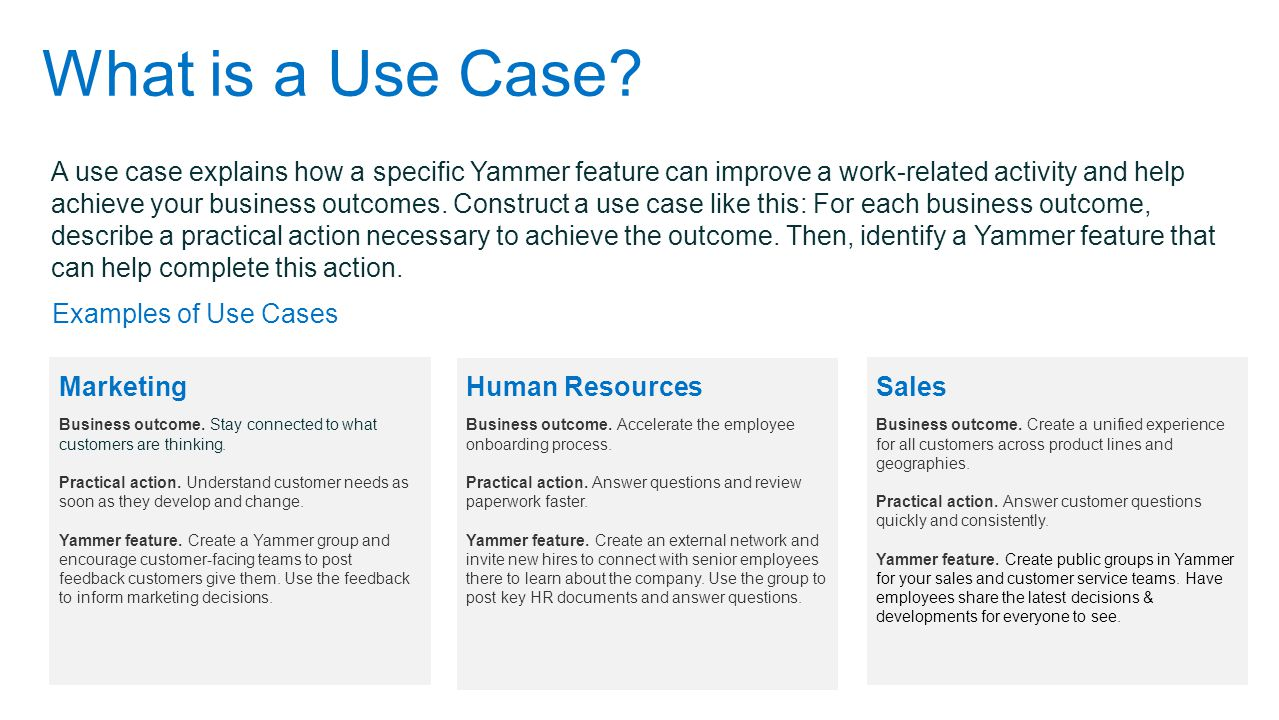 What is a Use Case? A use case explains how a specific Yammer feature can improve a work-related activity and help achieve your business outcomes. Con