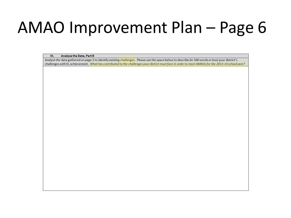 AMAO Improvement Plan – Page 6