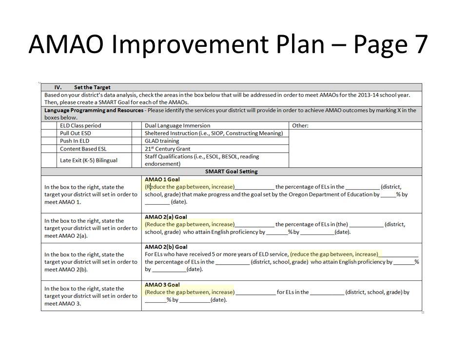 AMAO Improvement Plan – Page 7