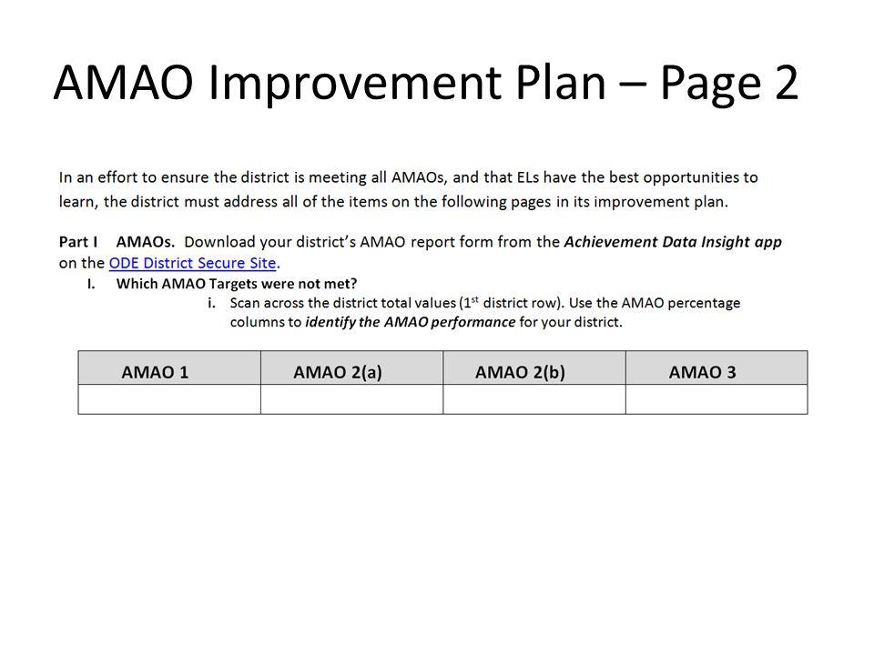 AMAO Improvement Plan – Page 2