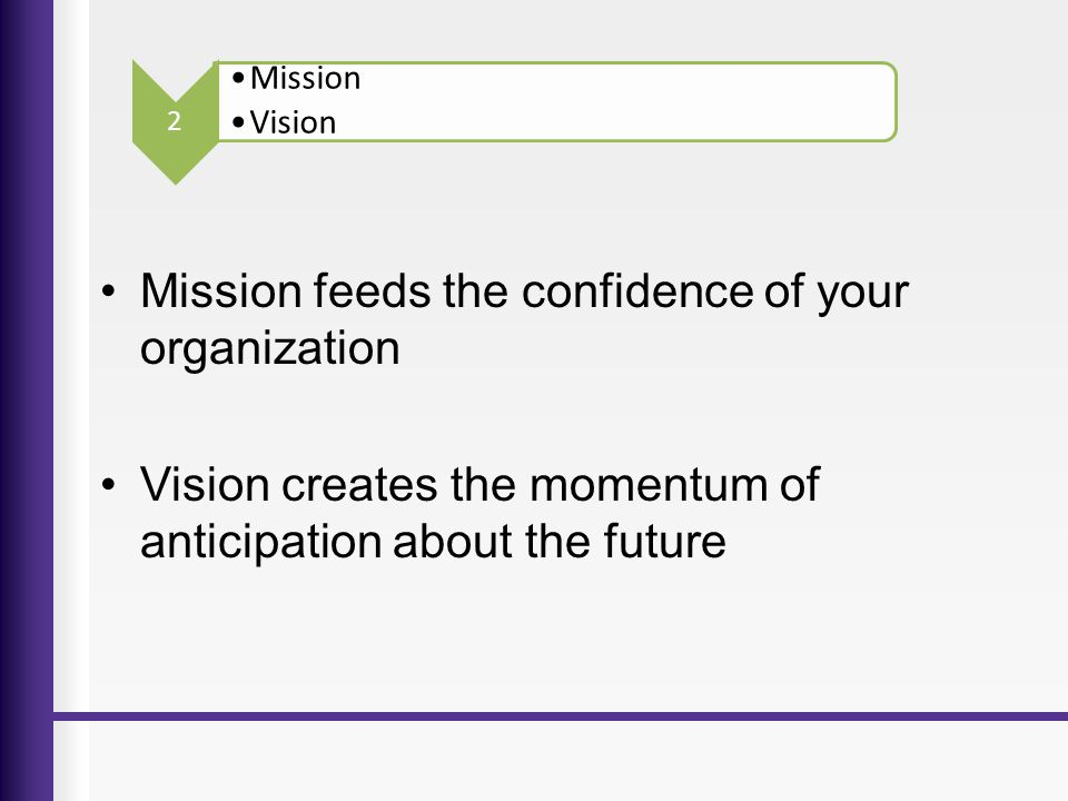 Mission feeds the confidence of your organization Vision creates the momentum of anticipation about the future Mission Vision 2