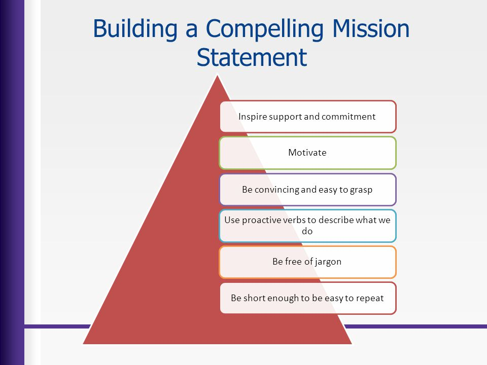 Building a Compelling Mission Statement Inspire support and commitmentMotivateBe convincing and easy to grasp Use proactive verbs to describe what we