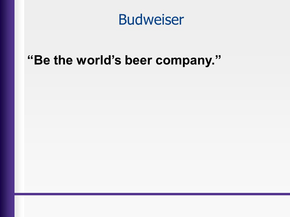 Budweiser Be the worlds beer company.