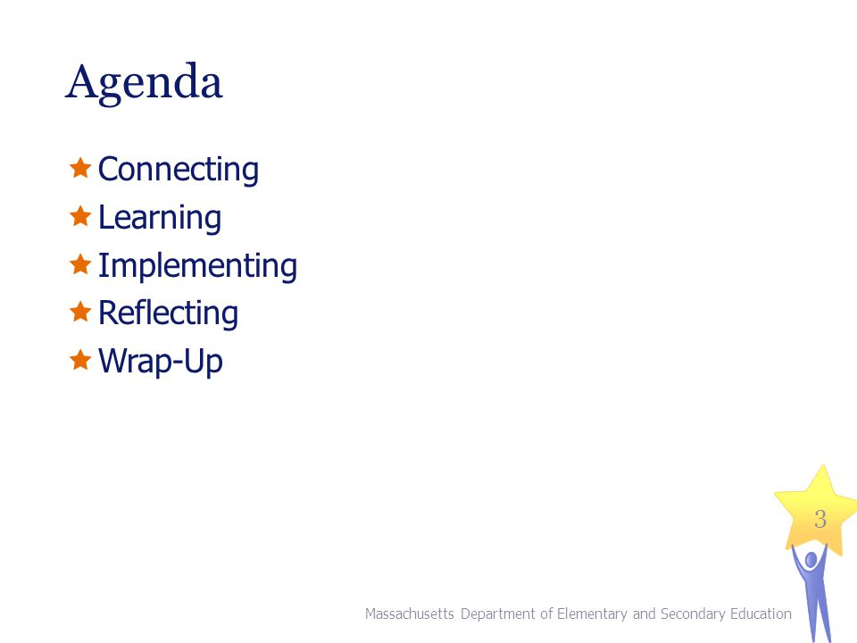 Agenda Connecting Learning Implementing Reflecting Wrap-Up Massachusetts Department of Elementary and Secondary Education 3