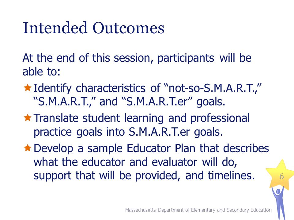 Intended Outcomes At the end of this session, participants will be able to: Identify characteristics of not-so-S.M.A.R.T., S.M.A.R.T., and S.M.A.R.T.e