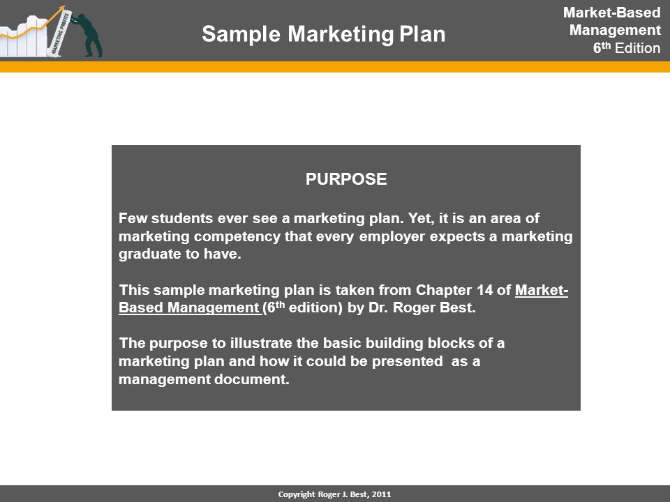 Sample Marketing Plan Copyright Roger J. Best, 2011 PURPOSE Few students ever see a marketing plan. Yet, it is an area of marketing competency that ev