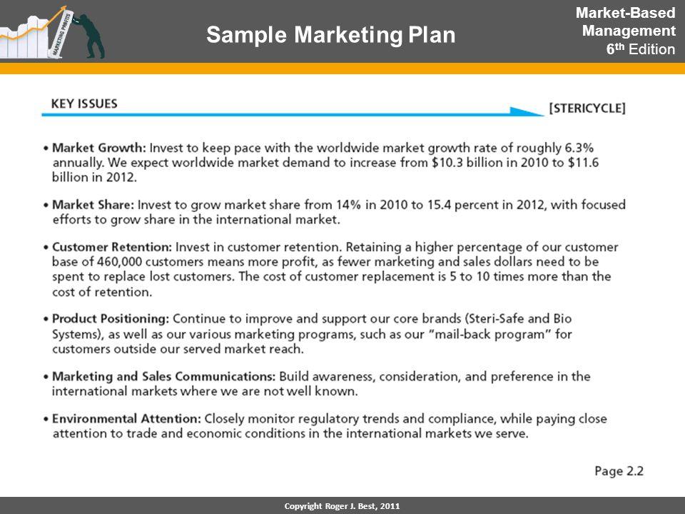 Copyright Roger J. Best, 2011 Sample Marketing Plan Market-Based Management 6 th Edition