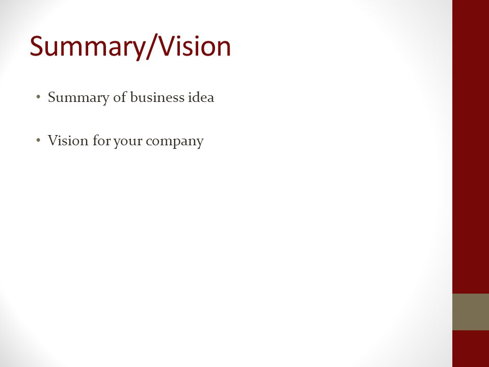 Summary/Vision Summary of business idea Vision for your company