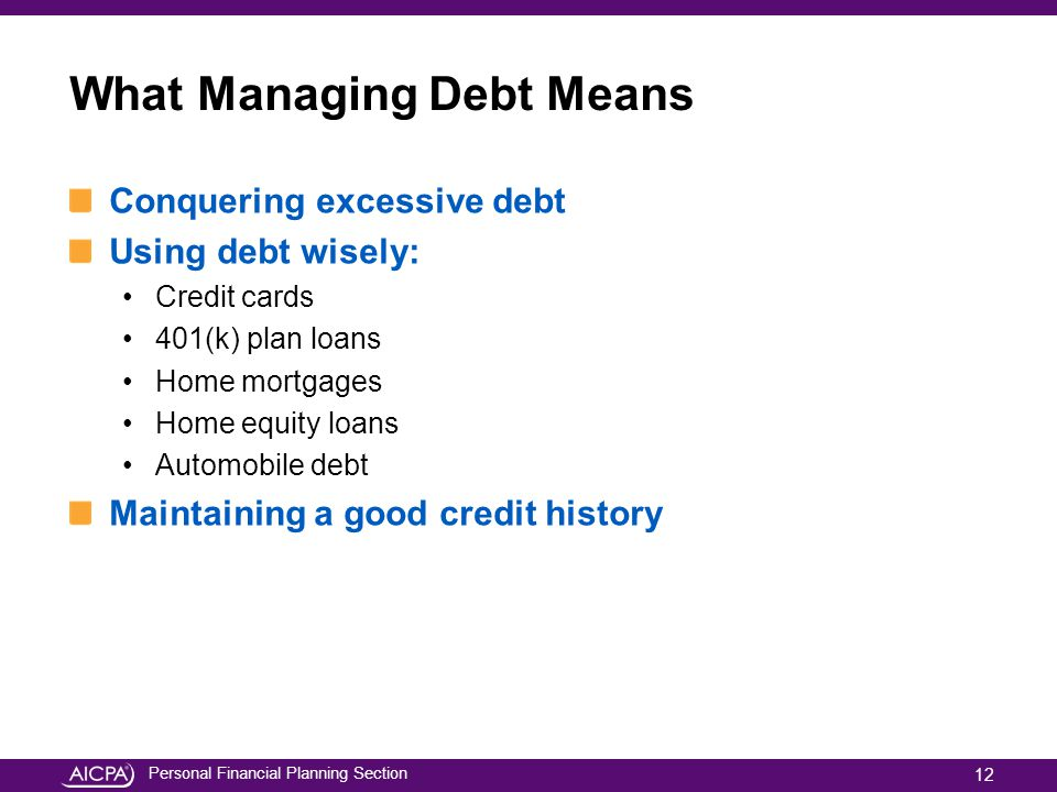 Personal Financial Planning Section What Managing Debt Means Conquering excessive debt Using debt wisely: Credit cards 401(k) plan loans Home mortgage