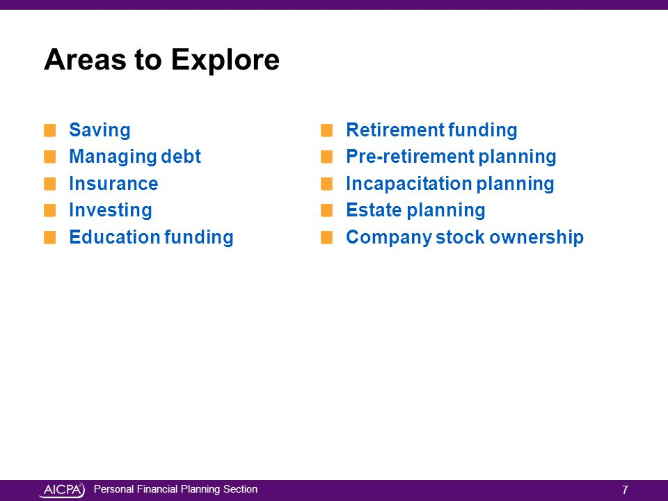 Personal Financial Planning Section Areas to Explore Saving Managing debt Insurance Investing Education funding Retirement funding Pre-retirement plan