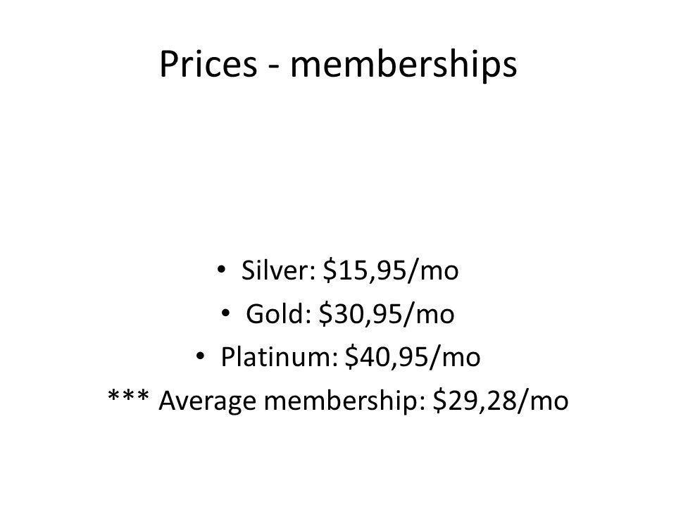 Prices - memberships Silver: $15,95/mo Gold: $30,95/mo Platinum: $40,95/mo *** Average membership: $29,28/mo