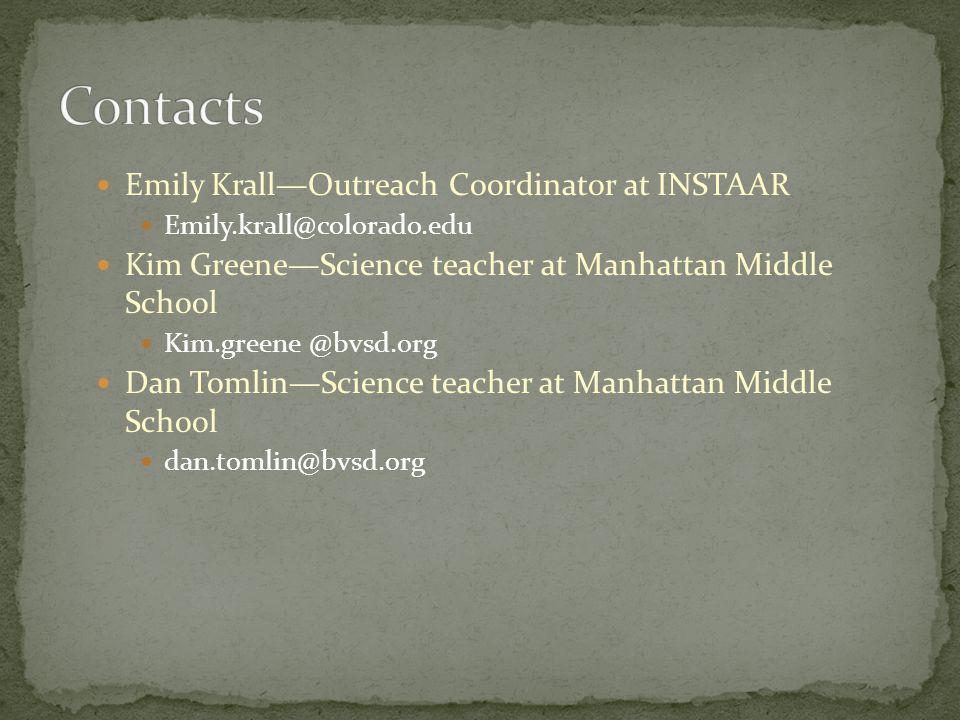 Emily KrallOutreach Coordinator at INSTAAR Emily.krall@colorado.edu Kim GreeneScience teacher at Manhattan Middle School Kim.greene @bvsd.org Dan TomlinScience teacher at Manhattan Middle School dan.tomlin@bvsd.org