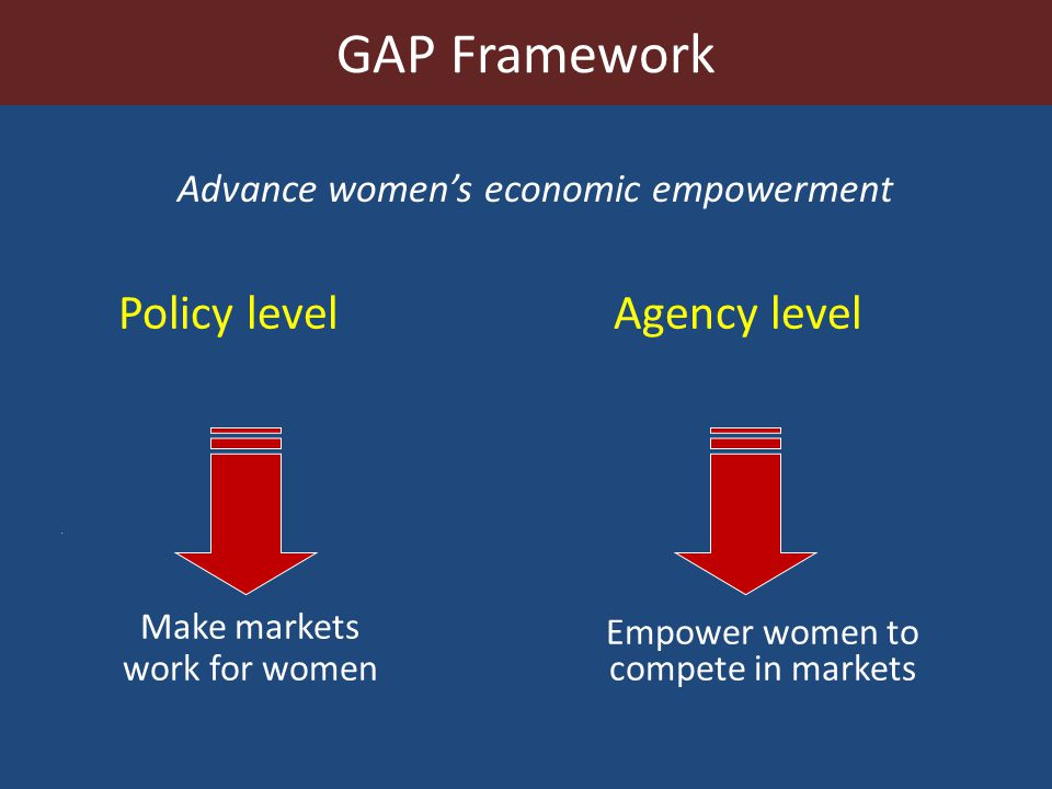 Policy level Agency level Empower women to compete in markets Make markets work for women Advance womens economic empowerment GAP Framework