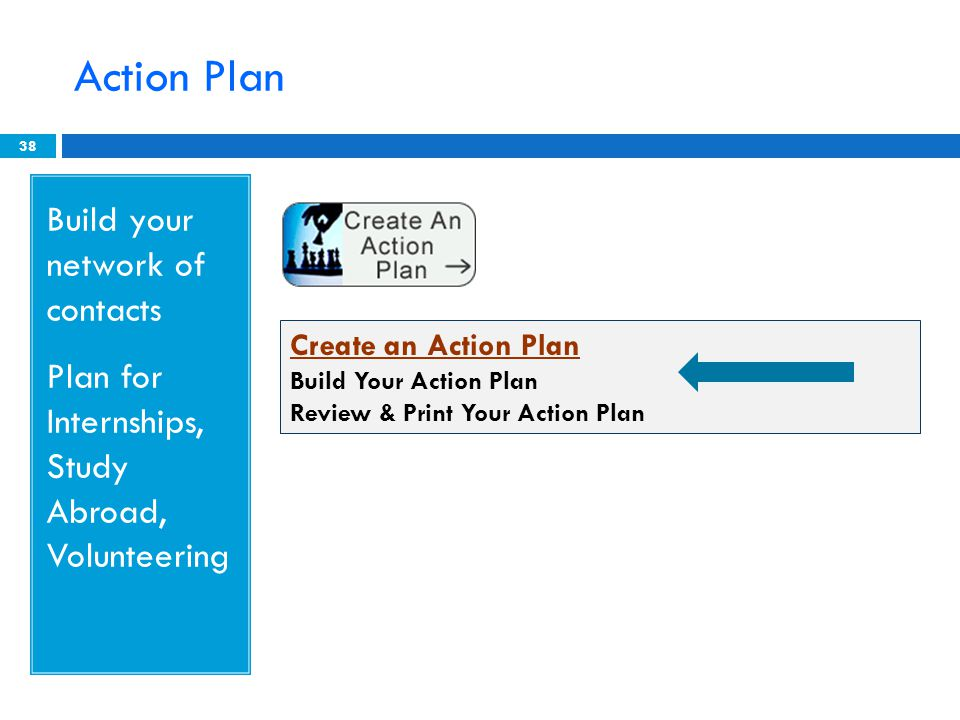 Action Plan 38 Build your network of contacts Plan for Internships, Study Abroad, Volunteering Create an Action Plan Build Your Action Plan Review & Print Your Action Plan