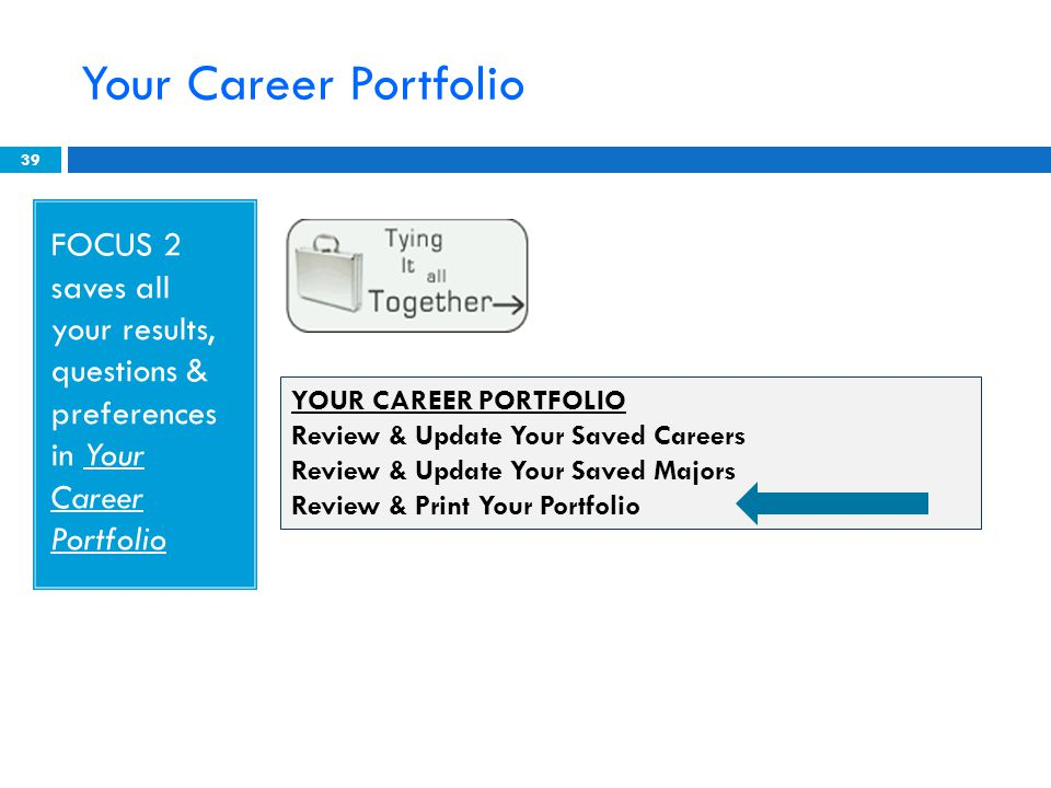 Your Career Portfolio 39 FOCUS 2 saves all your results, questions & preferences in Your Career Portfolio YOUR CAREER PORTFOLIO Review & Update Your Saved Careers Review & Update Your Saved Majors Review & Print Your Portfolio