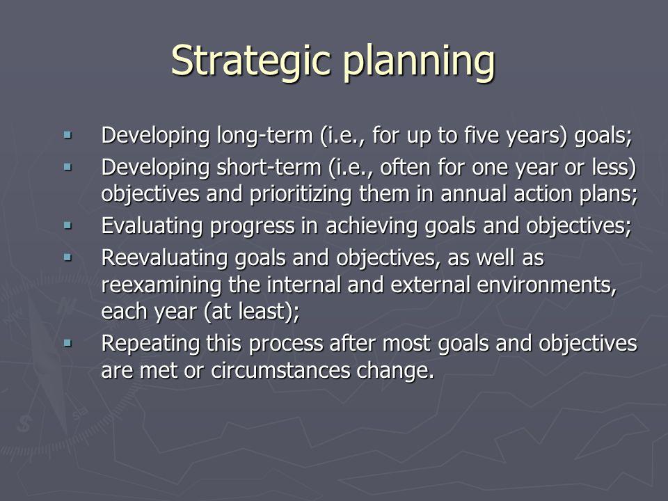 Strategic planning Developing long-term (i.e., for up to five years) goals; Developing long-term (i.e., for up to five years) goals; Developing short-