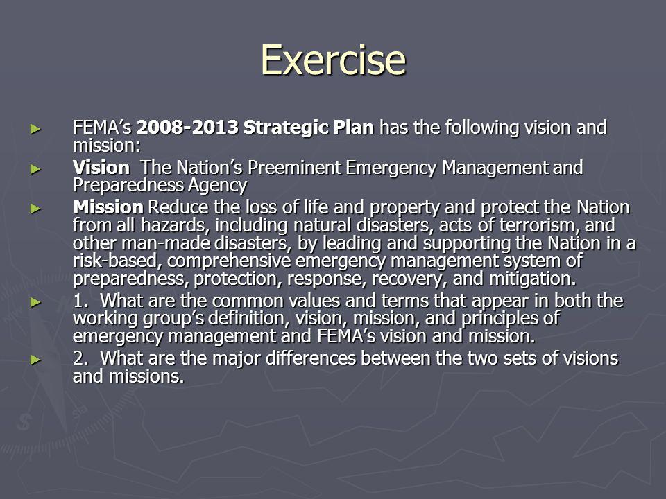 Exercise FEMAs 2008-2013 Strategic Plan has the following vision and mission: FEMAs 2008-2013 Strategic Plan has the following vision and mission: Vis