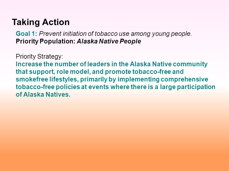 Goal 1: Prevent initiation of tobacco use among young people.
