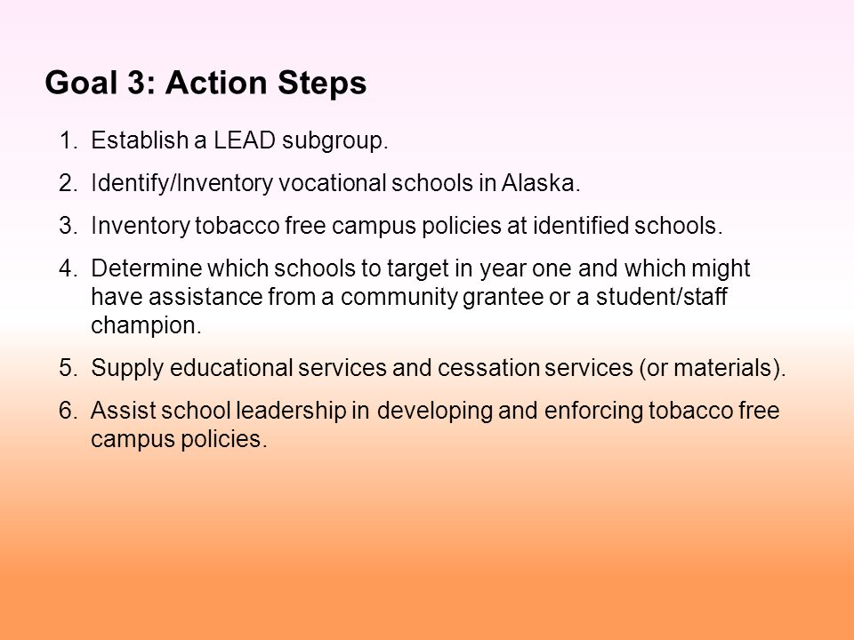 1. Establish a LEAD subgroup. 2. Identify/Inventory vocational schools in Alaska.
